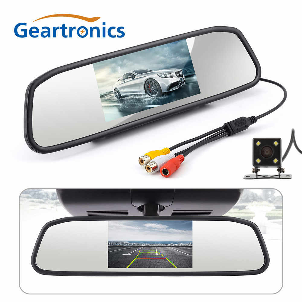 CCD HD Waterproof Parking Monitors System, 4 LED Night Vision Car Rear View Camera + 4.3 inch Car Rearview Mirror Monitor