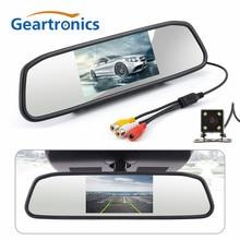 CCD HD Impermeabile di Parcheggio Monitor di Sistema, 4 LED Night Vision Auto Videocamera vista posteriore + 4.3 pollici Retrovisore Auto Monitor Dello Specchio