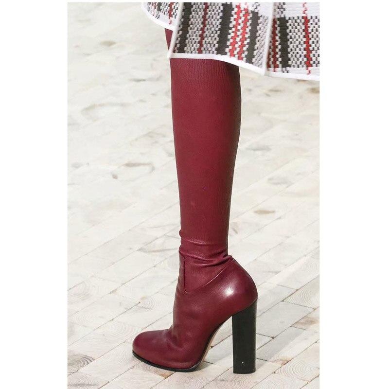 Knsvvli 本革チャンキーヒール女性はブーツを腿 Autumm 締め Bota Ş Mujer ストレッチブーツ膝のブーツ  グループ上の 靴 からの 膝上 ブーツ の中 3