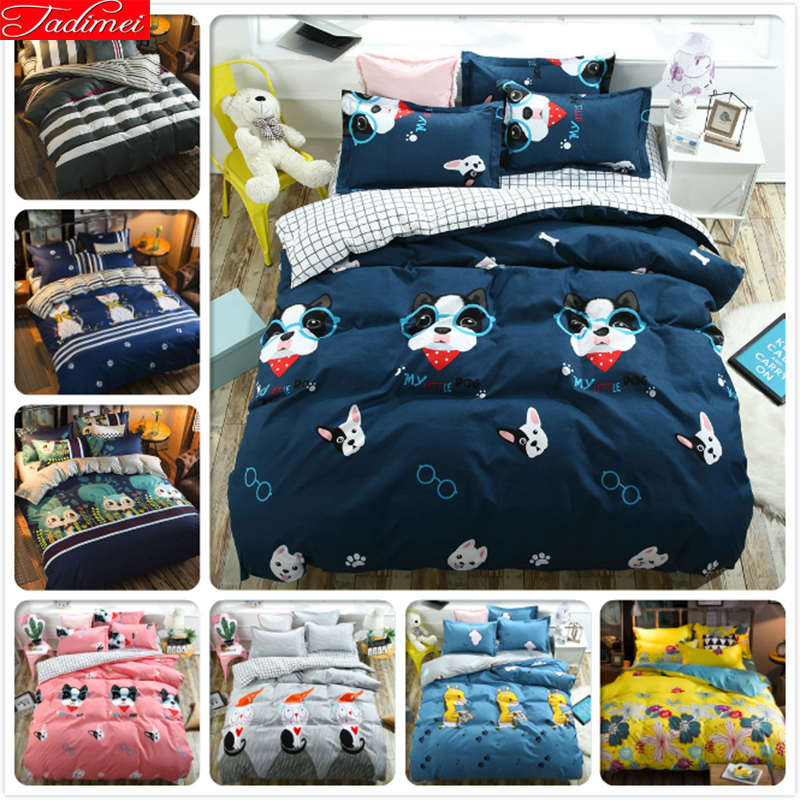 Blue Dog Pattern Duvet Cover 3/4 pcs Bedding Set Adult Kids Child Soft Cotton Bed Linens Single Twin Queen King Size Quilt Case