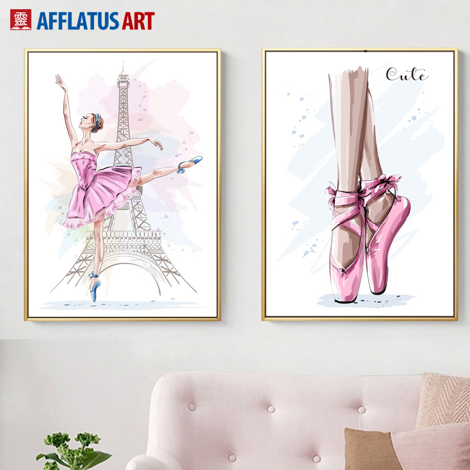 Paris Tower Pink Ballet Girl Watercolor Nordic Posters And Prints Wall Art Canvas Painting Pictures For Living Room Decor