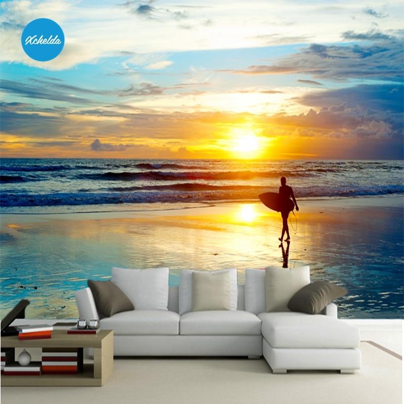XCHELDA 3D Mural Wallpapers Custom Painting Sunrise Beach Design Background  Bedroom Living Room Wall Murals Papel De Parede
