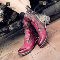 Prova Perfetto пестрые ботинки из материалов разных фактур для Осенне зимняя Дамская обувь без каблука Botas Mujer женские заклепки шипованных резинов