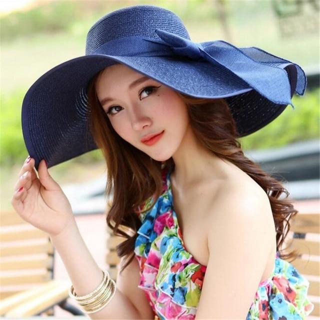 da944d5595645 Sombreros para las mujeres sombrero de verano sol Sombrero panamá de paja  con Ribbow banda de