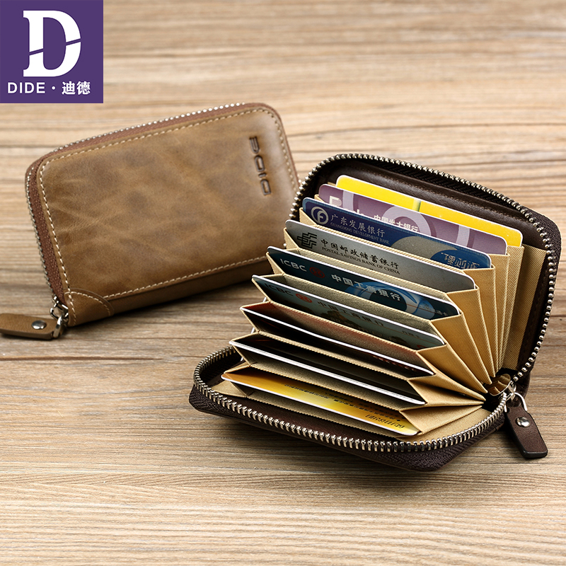 DIDE Genuine Leather Credit card package 11 card bit bank card holder Leather business card holder driver license Bags DQ633