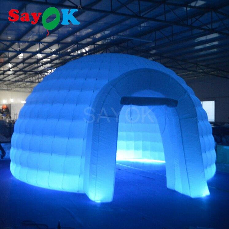 Portatile Bianco Gonfiabile Tenda a Cupola con Cambiamento di Colore del Led Illuminato Gonfiabile Tenda Igloo per la Fiera, Mostra