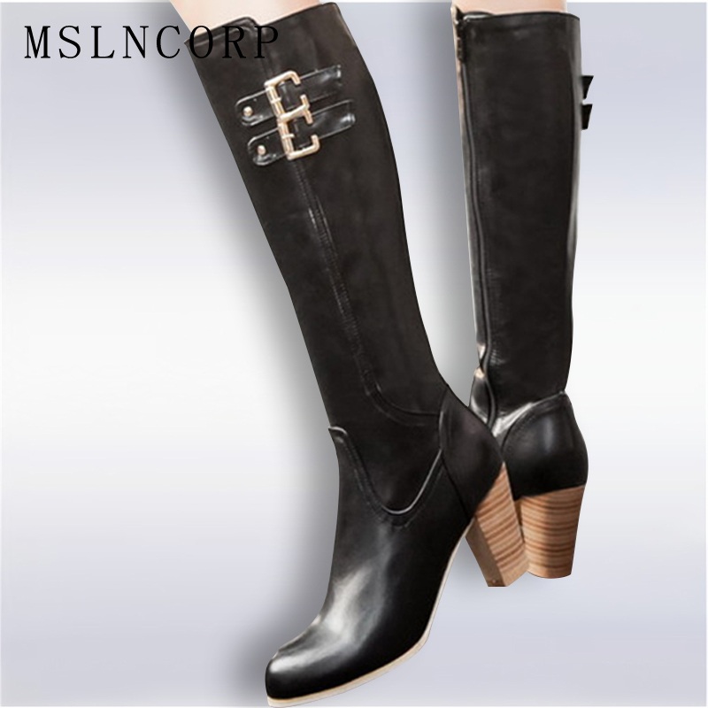 Autumn Winter Women Boots Thick High Heel Zipper Over the Knee High Boots Snow Fashion Thigh High Leather Boots shoes Size 34-48 plus size 34 43 autumn winter genuine leather women flower shoes lady high heel long boots embroidered over knee high snow boots