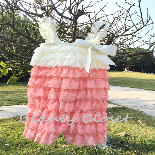 bc34e62cd3f Sweet Baby Lace Romper Ivory Coral Lace Petti Rompers Birthday Outfit Photo  Prop Newborn Jumpsuit Baby Clothes