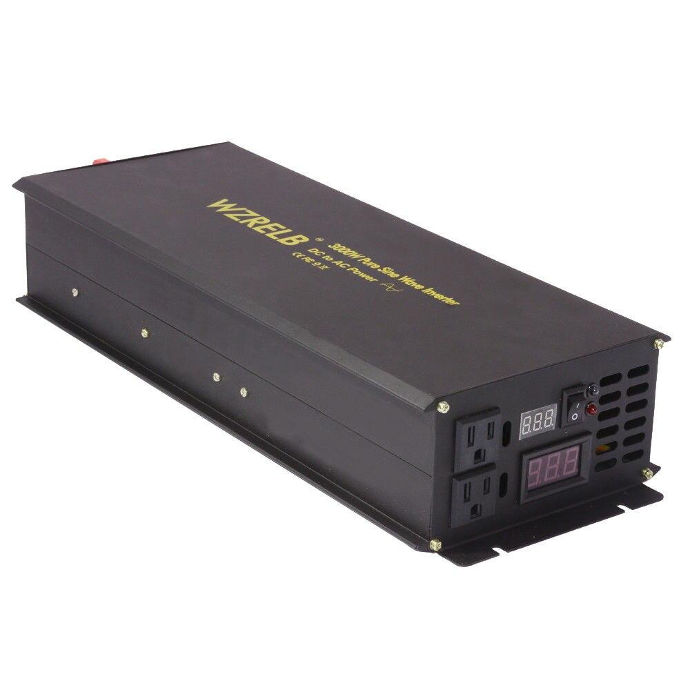 цена на Solar Power Inverter 3000W 12V DC to 220V AC Pure Sine Wave Inverter Battery Auto Voltage Converter 12V/24V/48V to 110/120V/220V