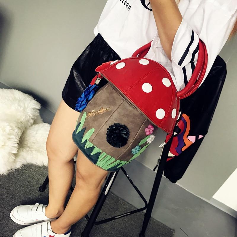 Mignon champignon sacs à main PU fourre-tout sacs Itaily Design créatif personnalité sacs contraste Fun enfants fille femmes vacances cadeaux 2018 - 3