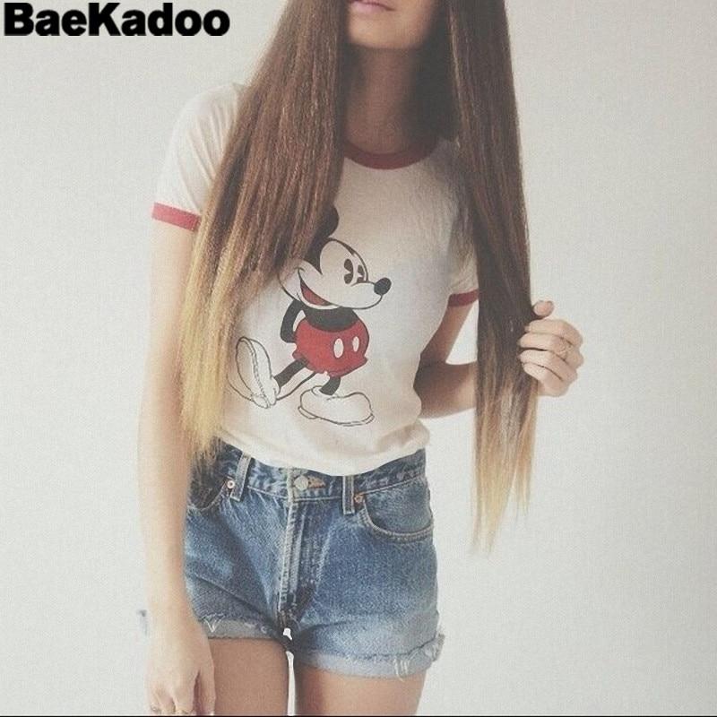 Женский короткий топ BAEKADOO, летняя футболка с коротким рукавом и 3d принтом