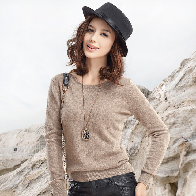 Women's Long Cashmere Wool Blended Casual Sweaters And Pullovers ...
