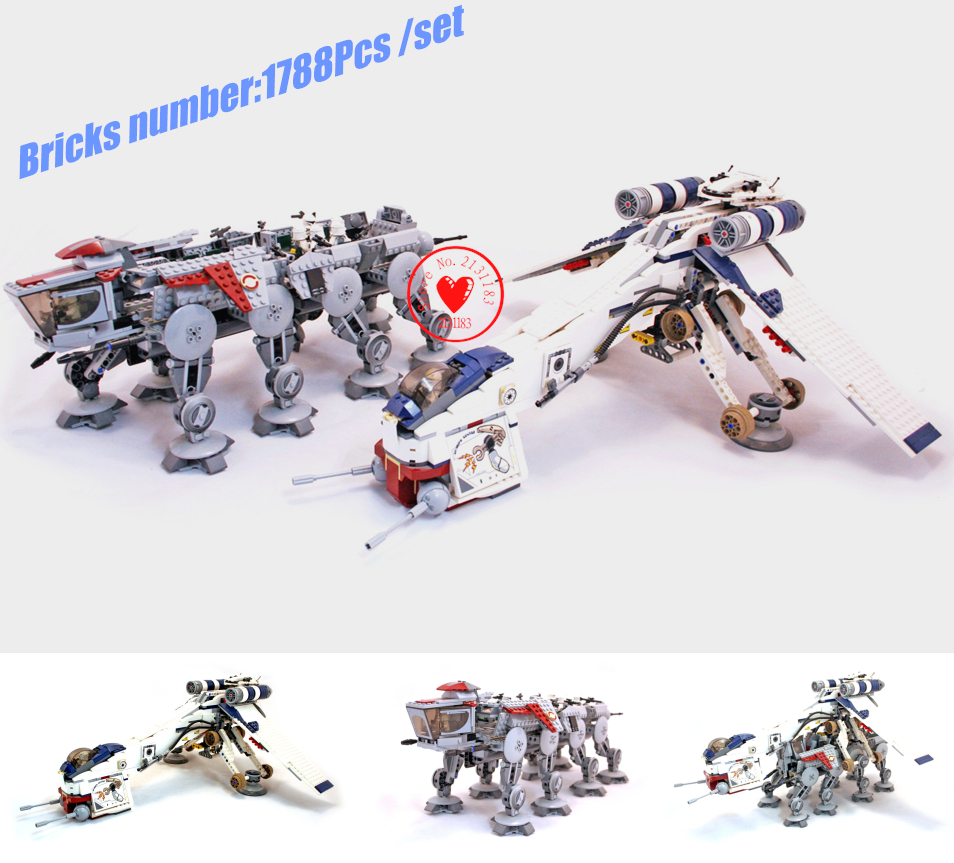 NEW Republic Dropship fighter fit legoings star wars figures model Building Blocks Bricks diy Toy 10195 1788pcs gift kid boys