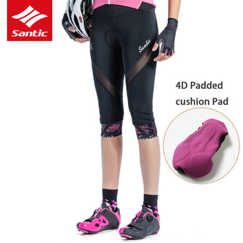 Santic Coolmax 4D Padded Women Cycling Shorts spring Summer Outdoor Road MTB Bike Riding 6 cents trousers Ladies Tights Shorts
