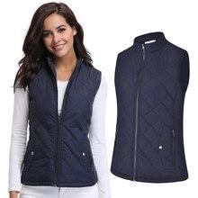 Women's sleeveless cotton coat Zippered tie pocket autumn cotton vest jacket tops Drop Shipping