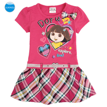 JUXINSU Summer Baby Girls Short Sleeve Dresses Cartoon Print Plaid Dress for 1-6 Years