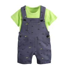 bebe the same style 2016 Summer Style Children's Clothing Baby Boy Suit Set Short Sleeve T-shirt+ Overalls bebe baby Overalls