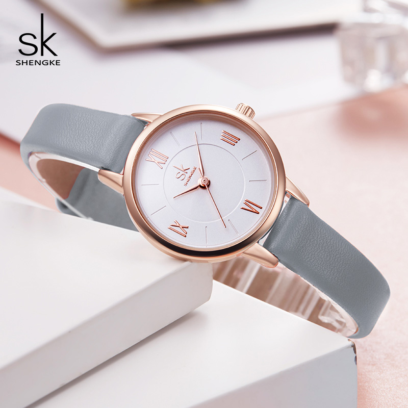 Shengke Ultra Thin Grey Leather Watches Women Fashion Wrist Watch  Quartz Ladies Watch Montre Femme 2019 New Bayan Kol Saati