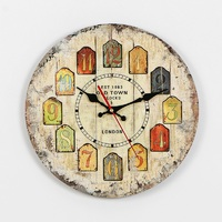 Room Wall Clocks MDF Watches Living Room Decoration Bell European Solid Wood Old Wall Clock Cartoon Landscape Living