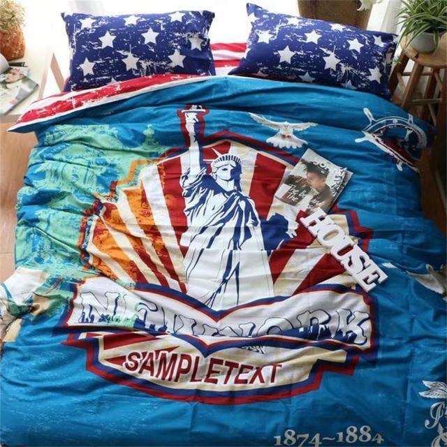 Vintage Classic Usa Eagle American Flag Cowboys Motorcycle Bedding