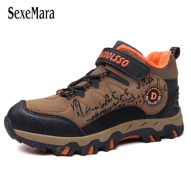 Size 31-40 Big Boys Sneakers Kids Boots Waterproof Student Travel Outdoor Hiking Shoes Men Non-slip Boots Genuine Leather C06271