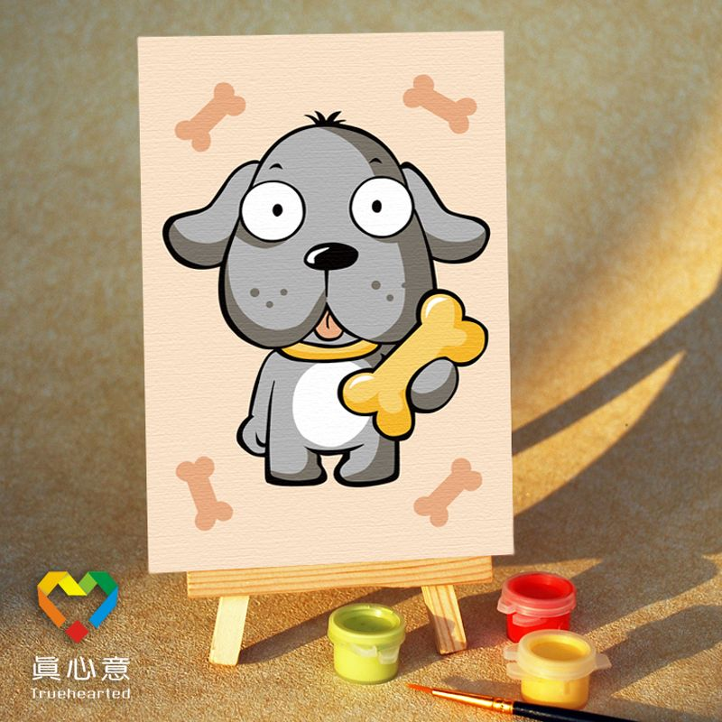 Diy digital oil painting cartoon oil painting zodiac - dog 10 15 mini painting belt easel