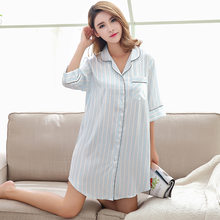 8c660d2bea Women Nightgowns Fashion Stripe Sleepwear Nightshirts Half Sleeve Silk  Casual Loose Night Dress Summer Home Clothing