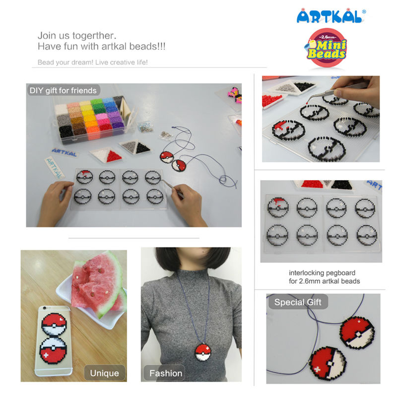 Artkal Beads 28 Color with Pegboards Box Set A 2.6mm Perler Soft Mini Beads Plastic EVA Educational Toys For Children CA28 - 3