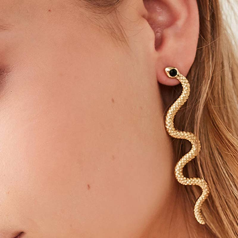 Dreamtop Punk Long Snake Earrings For Women Jewelry European Gold Color Ear Stud Handmade Womens Stud Earings Girl Gift E187