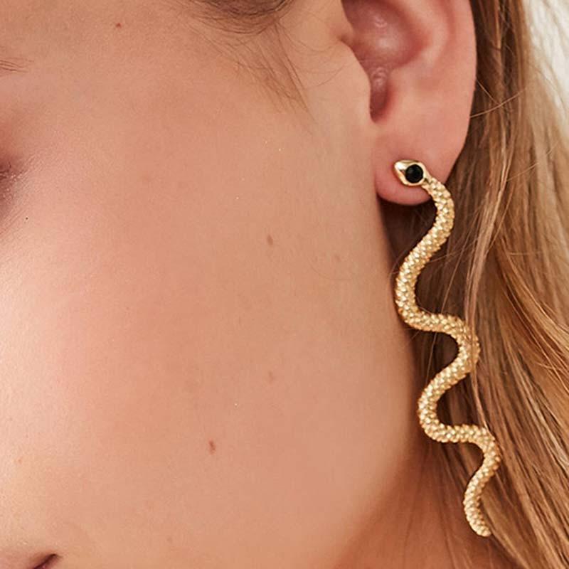 Dreamtop Punk Long Snake Earrings For Women Jewelry European Gold Color Ear Stud Handmade Womens Stud Earings Girl Gift E187