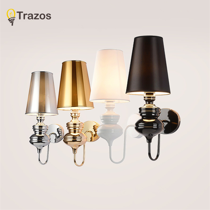 Modern Guard Wall Lamps European Style Bedroom Reading Lighting Corridor Lamp E27 Holder Silver/Gold/Black/White