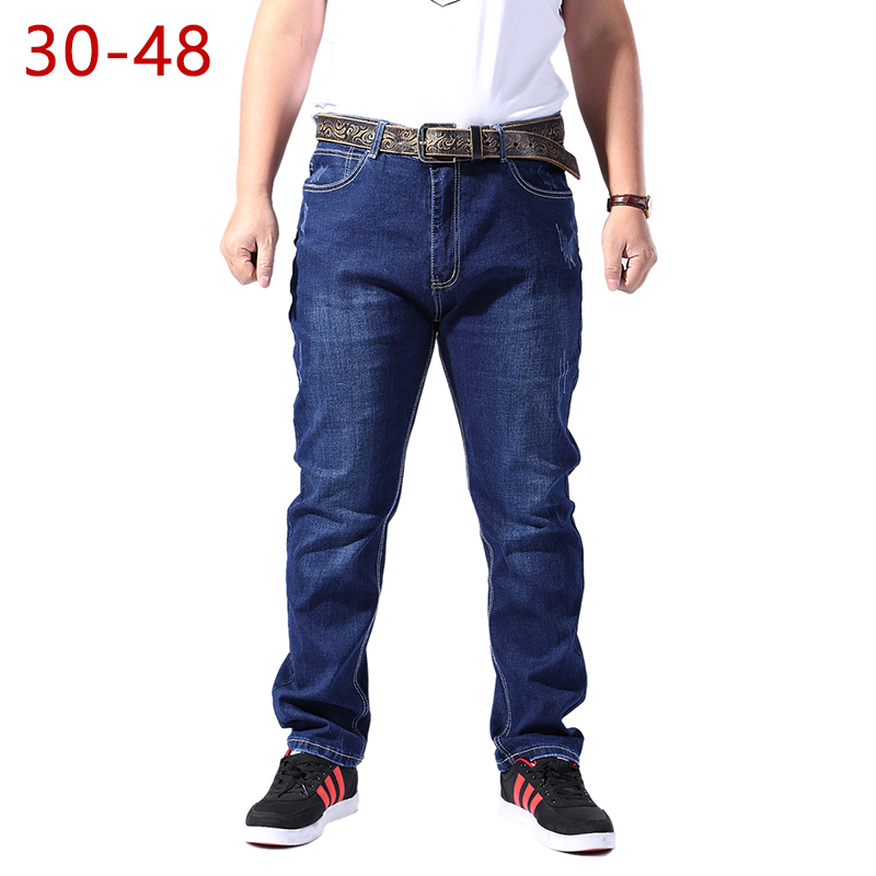 Big Size 30-48 Male Cotton   Jeans   High Stretch College Long Classic Brand Straight Baggy 2018 Casual Denim Pants Zipper Clothing