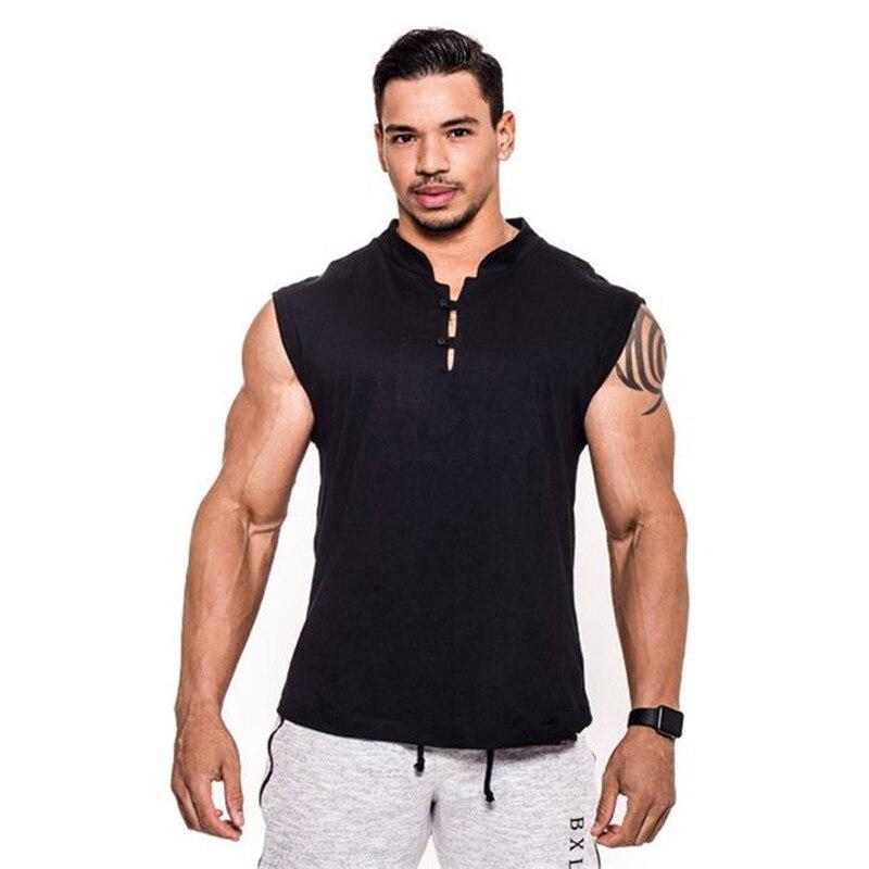 New Men's Vest Gyms Sports Bodybuilding Fitness Cotton Leisure Sleeveless Singlet Casual Top Vest Tank Bodybuilding Men Clothes