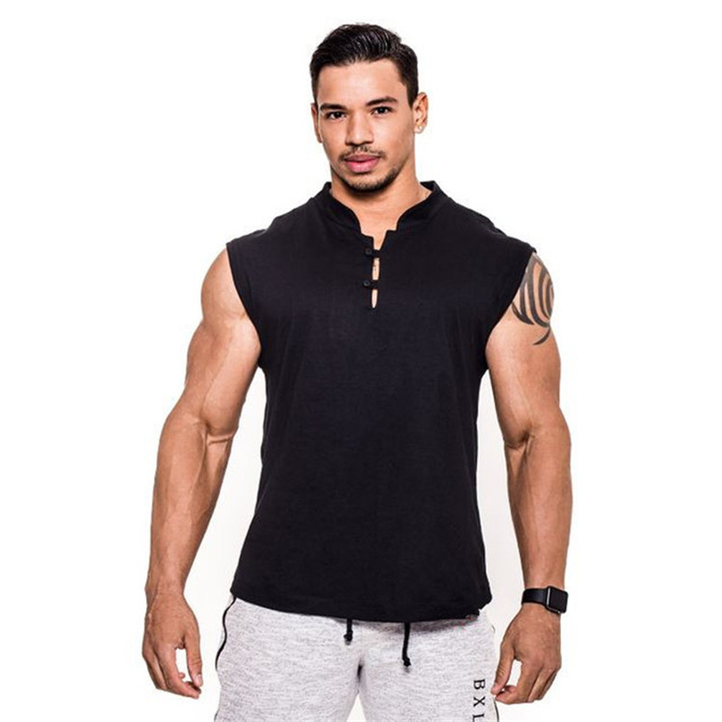 New Men's Vest Gyms sports Bodybuilding Fitness cotton leisure Sleeveless Singlet casual   Top   Vest   Tank   bodybuilding men clothes
