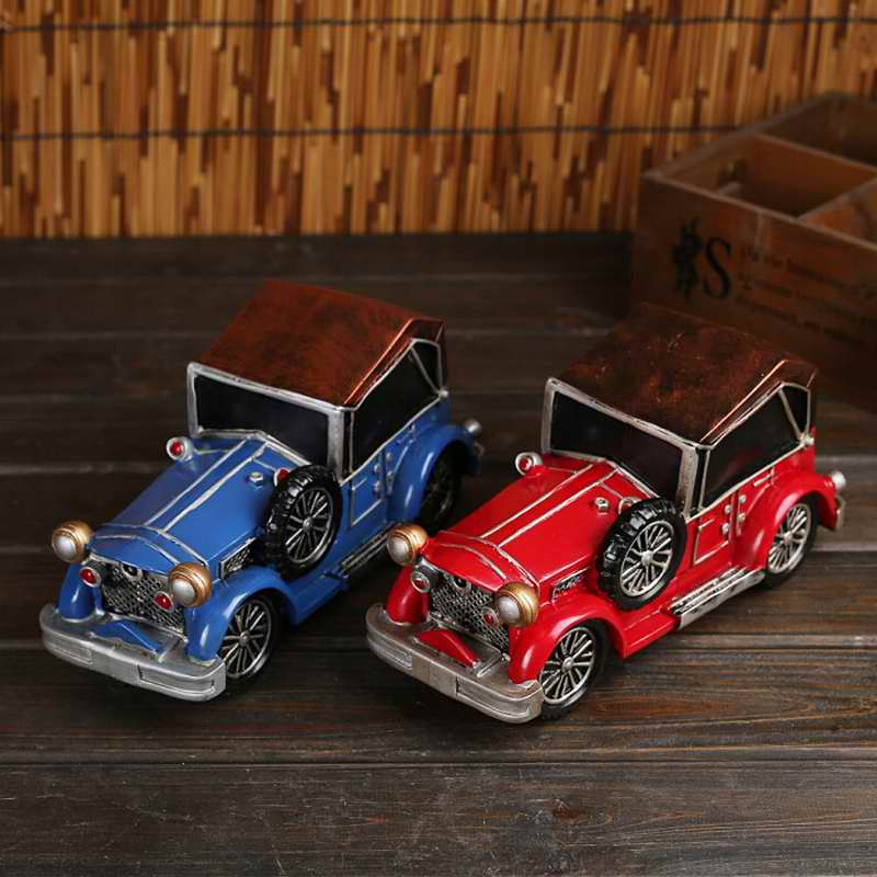 Vintage Resin Car Shape Coin Box Money Bank Money Storage Box Piggy Bank Home Office Decor Collectibles Kids Gifts