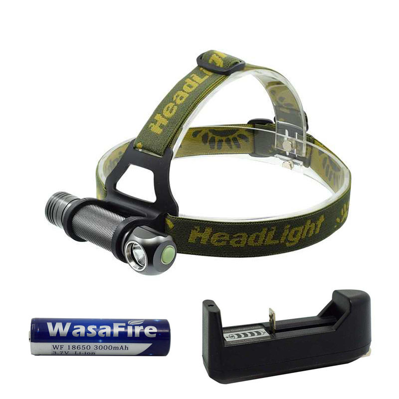 WasaFire LED Headlamp 3 Mode Headlight Head Torch Mini Led Flashlight Lantern With 18650 Battery + Charger For Camping Hunting ultrafire m3 t60 3 mode 910 lumen white led flashlight with strap black 1 x 18650