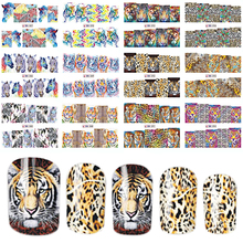 1 세트에 12 디자인 패션 스타일 네일 스티커 물 전송 호랑이 표범 동물 전체 팁 네일 아트 도구 BEBN85 96