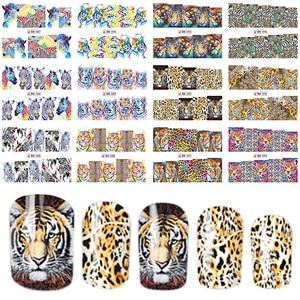 Image 1 - 1 세트에 12 디자인 패션 스타일 네일 스티커 물 전송 호랑이 표범 동물 전체 팁 네일 아트 도구 BEBN85 96