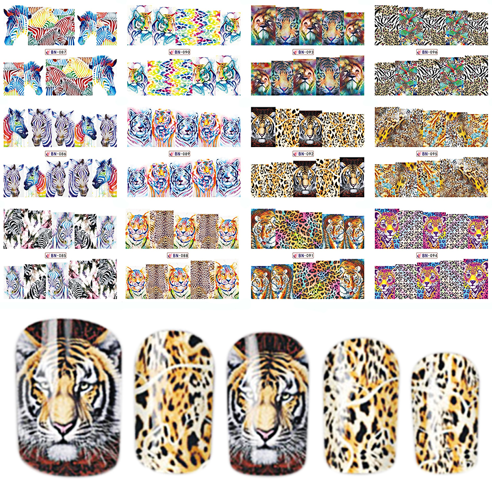 12 Designs In 1 Set Fashion Style Nail Sticker Water Transfer Tiger Leopard Animal Full Tip Nail Art Tool BEBN85 96-in Stickers & Decals from Beauty & Health