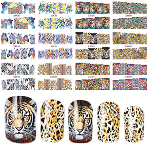 12 Designs In 1 Set Fashion Style Nail Sticker Water Transfer Tiger Leopard Animal Full Tip Nail Art Tool BEBN85-96