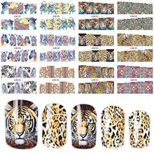 12 disegni In 1 Set di Stile di Modo Autoadesivo Del Chiodo di Trasferimento Dellacqua Tigre Leopardo Animale Punta Piena di Unghie Artistiche Strumento BEBN85 96