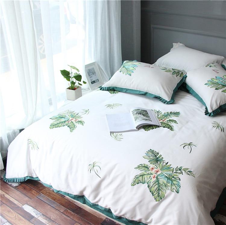 100% cotton home royal hotel textile embroidery four season bedding set high quality king queen size 4pcs duvet cover set