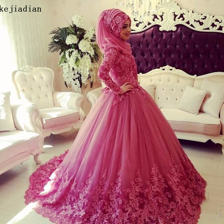 2017 Muslim Wedding Dresses Long Sleeves High Neck Lace Applique Islamic Wedding Dress Vintage Dubai Bridal Gowns with Hijab-in Wedding Dresses from ...