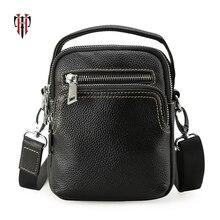 Tianhoo mini 100% couro genuíno bolsa mensageiro ombro & alça homem sacos cowwide camada almofada de couro/celular carteira para homem