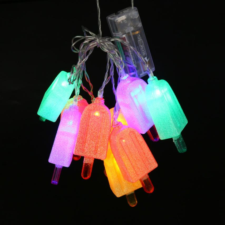2017 NEW Ice Lolly Popsicle String Lights 10 Battery Powered LED Party Lighting Summer S920