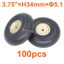 100pcs Lot 3 75 95mm Rubber Tail Wheels Tire Alloy Hub Core Thickness 34mm Axle hole