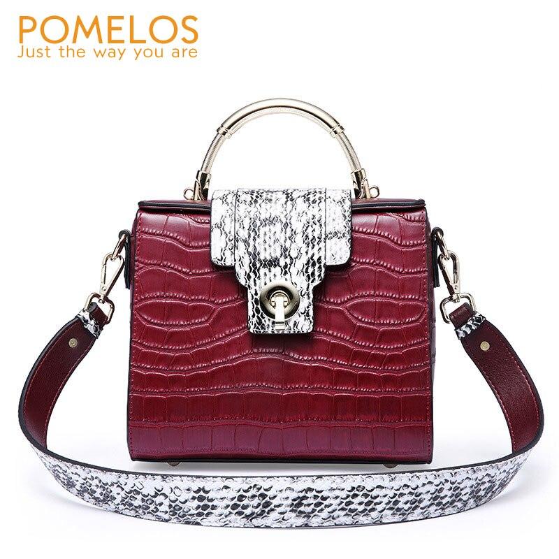 POMELOS Women Shoulder Bag 2019 Luxury Split Leather Crossbody Bags For Women Alligator Messenger Bag Ladies