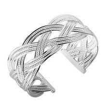 Envío Libre, 25 joyería de Plata, pulsera grande reticulada, 925 Brazalete de Plata, Joyería Al Por Mayor SZ077