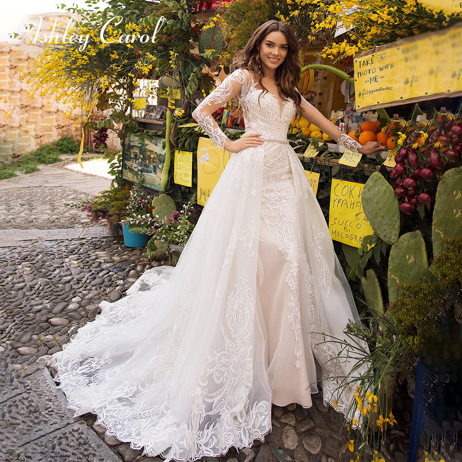 Ashley Carol Sexy Mermaid Wedding Dress 2019 Sweetheart Lace Long Sleeve Detachable Train Illusion Bride Gown Vestido De Noiva