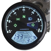MPH/KMH 124MPH/ 199kmh 12000 rpm LCD Digital Speedometer Tachometer Odometer for 4 stroke 1/2/4 Cylinders Motorcycle